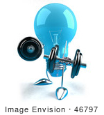 #46797 Royalty-Free (Rf) Illustration Of A Blue 3d Glass Light Bulb Mascot Lifting Weights - Version 2