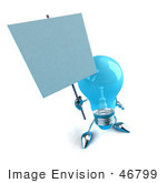 #46799 Royalty-Free (Rf) Illustration Of A Blue 3d Glass Light Bulb Mascot Holding A Blank Sign On A Post - Version 1
