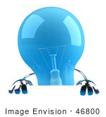 #46800 Royalty-Free (Rf) Illustration Of A Blue 3d Glass Light Bulb Mascot Holding Up A Blank Sign