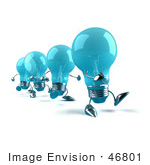 #46801 Royalty-Free (Rf) Illustration Of A Line Of Blue 3d Glass Light Bulb Mascots