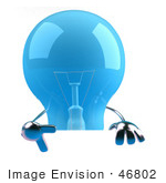 #46802 Royalty-Free (Rf) Illustration Of A Blue 3d Glass Light Bulb Mascot Giving The Peace Gesture And Holding A Blank Sign