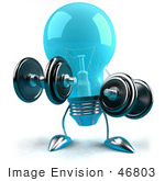 #46803 Royalty-Free (Rf) Illustration Of A Blue 3d Glass Light Bulb Mascot Lifting Weights - Version 1