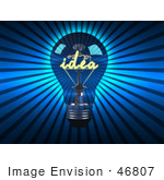 #46807 Royalty-Free (Rf) Illustration Of A 3d Blue Glass Idea Light Bulb - Version 2