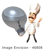 #46808 Royalty-Free (Rf) Illustration Of A 3d Chef Henry Mascot Holding A Light Bulb - Version 3