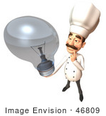 #46809 Royalty-Free (Rf) Illustration Of A 3d Chef Henry Mascot Holding A Light Bulb - Version 1