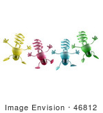 #46812 Royalty-Free (Rf) Illustration Of Four Colorful 3d Spiral Light Bulb Mascots Leaping