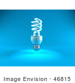 #46815 Royalty-Free (Rf) Illustration Of A Blue 3d Spiral Light Bulb - Version 2