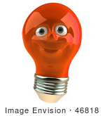 #46818 Royalty-Free (RF) Illustration of a Red 3d Electric Light Bulb Head Mascot Smiling by Julos