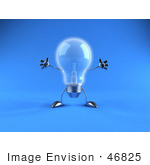 #46825 Royalty-Free (Rf) Illustration Of A 3d Glass Light Bulb Mascot Holding His Arms Out - Version 4