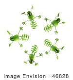 #46828 Royalty-Free (Rf) Illustration Of A Group Of Green 3d Spiral Light Bulb Mascots In A Circle