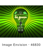 #46830 Royalty-Free (Rf) Illustration Of A 3d Be Green Light Bulb