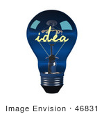 #46831 Royalty-Free (Rf) Illustration Of A 3d Blue Glass Idea Light Bulb - Version 1
