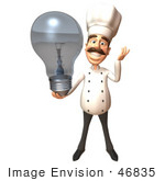 #46835 Royalty-Free (Rf) Illustration Of A 3d Chef Henry Mascot Holding A Light Bulb - Version 4