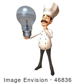 #46836 Royalty-Free (Rf) Illustration Of A 3d Chef Henry Mascot Holding A Light Bulb - Version 2
