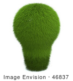 #46837 Royalty-Free (Rf) Illustration Of A 3d Green Grassy Electric Light Bulb
