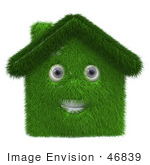 #46839 Royalty-Free (Rf) Illustration Of A 3d Grassy House Mascot - Version 1