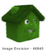 #46840 Royalty-Free (Rf) Illustration Of A 3d Grassy House Mascot - Version 2