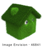 #46841 Royalty-Free (Rf) Illustration Of A 3d Grassy House Mascot - Version 3