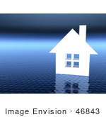 #46843 Royalty-Free (Rf) Illustration Of A 3d White House On A Textured Blue Background - Version 1