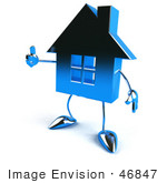 #46847 Royalty-Free (Rf) Illustration Of A 3d Blue Chrome House Mascot Giving The Thumbs Up - Version 2