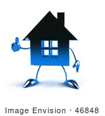 #46848 Royalty-Free (Rf) Illustration Of A 3d Blue Chrome House Mascot Giving The Thumbs Up - Version 4