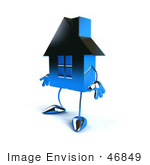 #46849 Royalty-Free (Rf) Illustration Of A 3d Blue Chrome House Mascot Facing Left