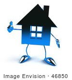 #46850 Royalty-Free (Rf) Illustration Of A 3d Blue Chrome House Mascot Giving The Thumbs Up - Version 1