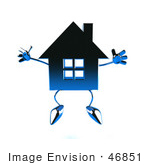 #46851 Royalty-Free (Rf) Illustration Of A 3d Blue Chrome House Mascot Jumping - Version 2