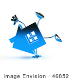 #46852 Royalty-Free (Rf) Illustration Of A 3d Blue Chrome House Mascot Doing A Cartwheel - Version 1
