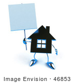 #46853 Royalty-Free (Rf) Illustration Of A 3d Blue Chrome House Mascot Holding Up A Blank Sign - Version 2