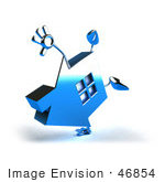 #46854 Royalty-Free (Rf) Illustration Of A 3d Blue Chrome House Mascot Doing A Cartwheel - Version 2