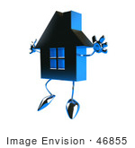 #46855 Royalty-Free (Rf) Illustration Of A 3d Blue Chrome House Mascot Jumping - Version 1