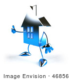 #46856 Royalty-Free (Rf) Illustration Of A 3d Blue Chrome House Mascot Giving The Thumbs Up - Version 5