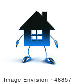 #46857 Royalty-Free (Rf) Illustration Of A 3d Blue Chrome House Mascot Facing Front
