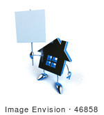 #46858 Royalty-Free (Rf) Illustration Of A 3d Blue Chrome House Mascot Holding Up A Blank Sign - Version 1