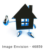 #46859 Royalty-Free (Rf) Illustration Of A 3d Blue Chrome House Mascot Giving The Thumbs Up - Version 3