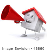 #46860 Royalty-Free (Rf) Illustration Of A 3d White Clay House Mascot Using A Megaphone - Version 3