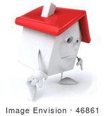 #46861 Royalty-Free (Rf) Illustration Of A Sad 3d White Clay House Mascot Walking Right