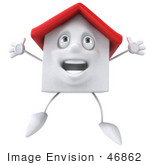 #46862 Royalty-Free (Rf) Illustration Of A 3d White Clay House Mascot Jumping - Version 1