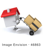 #46863 Royalty-Free (Rf) Illustration Of A 3d White Clay House Mascot Moving Boxes On A Dolly - Version 3