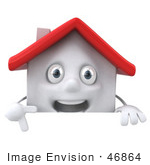 #46864 Royalty-Free (Rf) Illustration Of A 3d White Clay House Mascot Pointing Down And Standing Behind A Blank Sign