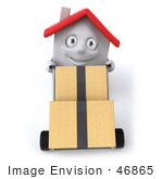 #46865 Royalty-Free (Rf) Illustration Of A 3d White Clay House Mascot Moving Boxes On A Dolly - Version 2