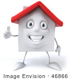 #46866 Royalty-Free (Rf) Illustration Of A 3d White Clay House Mascot Giving The Thumbs Up - Version 2