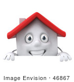 #46867 Royalty-Free (Rf) Illustration Of A 3d White Clay House Mascot Standing Behind A Blank Sign