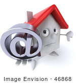 #46868 Royalty-Free (Rf) Illustration Of A 3d White Clay House Mascot Holding An At Symbol - Version 1