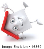 #46869 Royalty-Free (Rf) Illustration Of A 3d White Clay House Mascot Doing A Cartwheel