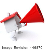 #46870 Royalty-Free (Rf) Illustration Of A 3d White Clay House Mascot Using A Megaphone - Version 2