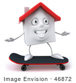 #46872 Royalty-Free (Rf) Illustration Of A 3d White Clay House Mascot Skateboarding - Version 1