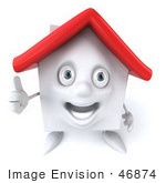 #46874 Royalty-Free (Rf) Illustration Of A 3d White Clay House Mascot Giving The Thumbs Up - Version 1