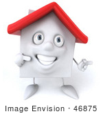 #46875 Royalty-Free (Rf) Illustration Of A 3d White Clay House Mascot Pointing Right